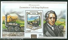 NIGER  2015  190th ANN OF THE FIRST LOCOMOTIVE BY GEORGE STEPHENSON S/S MINT NH