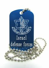 israel army idf engraved zahal dog tag necklace blue metal military chain men