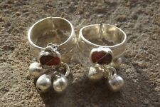 A pair of Bollywood belly dance Indian silver tone toe rings ~adjustable