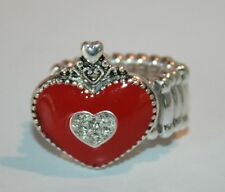 Silver tone red enamel heart & crystals stretch band ring