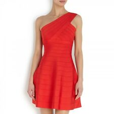 Auth HERVE LEGER 'Sydney' Stretch Bandage Dress Coral Poppy Red MED NEW $1.3K
