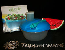 Tupperware 6cup Lunch Salad To Go ~NEW Recipe Book ~AZURE Seal ~GREEN Knife Fork