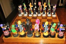 Large Chess Board Old Time Movie Set Groucho Marx Figurine WC Fields Chaplin HTF