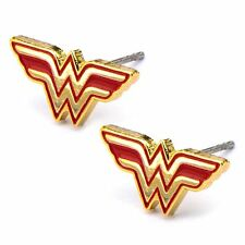 Official DC Comics Wonder Woman Classic Logo Stud Earrings - Gold Red New