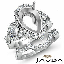 Diamond Engagement 3 Stone Ring Pear Semi Mount Bridal Set 14k Gold White 2.88Ct