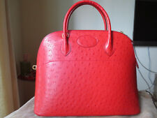 MINT STRAWBERRY! Authentic HERMES Rouge VIF OSTRICH 37cm BOLIDE