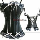 Burlesque Black Lace up Victorian Basque Boned Strap Trim Overbust Corset