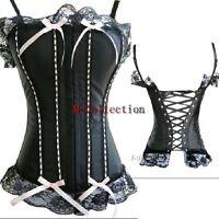 Burlesque Black Lace up Victorian Basque Boned Strap Trim Overbust Corset