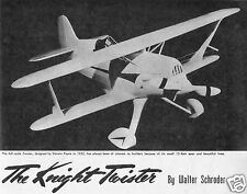 "Model Airplane Plans (UC): Vintage KNIGHT TWISTER 30½"" biplane .23-.29ci Engine"