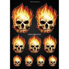 Stickers autocollants Moto casque réservoir Skull Flames  Format A3 2506