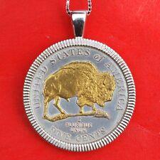 2005-D Westward Jefferson Buffalo Nickel 24K Gold Coin Sterling Silver Necklace