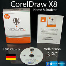 Corel Draw X8 Home & Student 3 PC Vollversion Box + DVD, Trainingsvideo OVP NEU