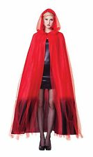 WOMEN'S HOODED RED CAPE OMBRE #FINISH HALLOWEEN FANCY DRESS COSTUME