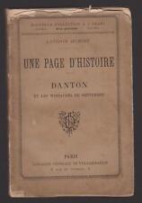 UNE PAGE D'HISTOIRE DANTON ET LES MASSACRES DE SEPTEMBRE  ANTONIN DUBOST 1884
