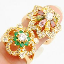 Wholesales Beautiful 2 Pcs Green Colors Cubic Zirconia Gold Filled Rings Size 8