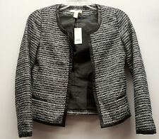 BANANA REPUBLIC Size 2 Black White Silver Tweed Leather Trim Blazer Jacket NEW