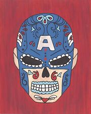 Captain America Day of the Dead print 8X10, Comic character and Pop Art
