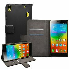 Wallet BLACK Leather Flip Case Cover Pouch For Lenovo K3 Note (K50-t5)