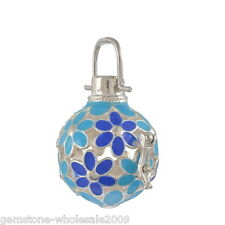 1PC Blue Green Fluorescence Enemal Box Harmony Beads Ball Cage Pendant Bola