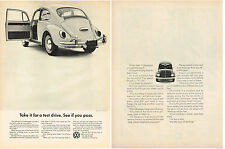 Vintage 1970 2-Page Magazine Ad Volkswagen Take For A Test Drive See If You Pass