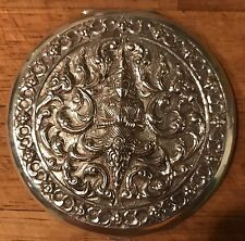 Beautiful Antique Siam / Thai Solid Silver Compact Repousse Thai Buddha Deity