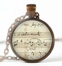 """Vintage Music Sheet Mozart Pendant Charm or Key Chain 1"""" Copper Music Lover A1"""