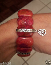 Silpada Sterling Silver and Carved Coral Stretch Bracelet - Rare - HTF - B2259