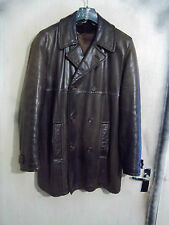 VINTAGE LEATHER PEA COAT JACKET SIZE M