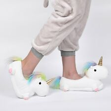Plush Unicorn Light Up Slippers Novelty Soft Fluffy Indoor Unisex
