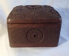 WW2 Royal Artillary Anglo-Indian Ornate Carved Wood Hinged Cigarette Box Fold Ou