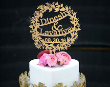 Personalized Wedding Cake Topper Made of Wood and Painted in Metallic Gold 128