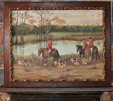 vintage oil painting horse and hound fox hunt Signed Cook