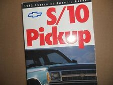 1992 CHEVROLET S-10 S10 S/10 PICKUP OWNERS MANUAL