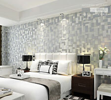 3D stereoscopic mosaic modern minimalist backdrop nonwoven wallpaper Grey