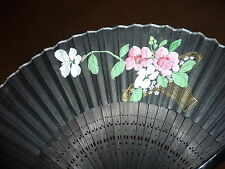 """Vintage Folding FAN Hand Held Painted PINK Flowers made of Wood Paper 8.75"""""""