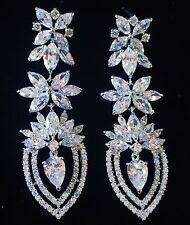 EARRING using Swarovski Crystal Dangle Drop Wedding Bridal Rhodium Silver CZ63