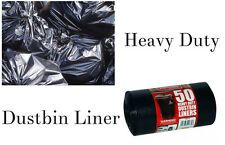 50 Black Heavy Duty Strong Refuse Sacks Garden and  household Waste Bin Liners