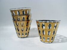 Luxe CULVER Midcentury Gilt PIZA 4 Flared Cocktail Tumblers HOLLYWOOD REGENCY