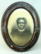 *Antique Portrait of a Black African American Woman in Bubble Glass Gesso Frame