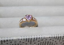 14k Yellow Gold Heart Amethyst Ring