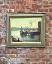 Original Oil On Canvas By Gloucester Artist Maria Liszt. Ships In Harbor. Signed