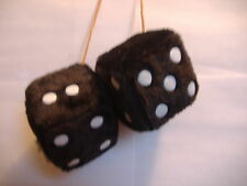 "1 PLUSH FUZZY DICE BLACK  3"" INCHES HANG ON  YOUR CAR MIRROR"