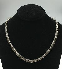 """Sterling Silver 925 Byzantine Link Chain Necklace 16"""" with Hook Clasp"""