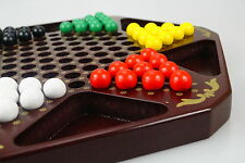 "Chinese Checkers, 12.8"" Fine Wooden Chessboard, Wooden Marbles, family game set"