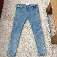 BERSHKA  BLUE ACID WASH SUPER SKINNY STRETCH JEANS SIZE 14 LEG  30