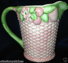 SEYMOUR MANN FRUTTA FRESCA PITCHER PINK BASKET WEAVE & FRUITS GREEN LEAVES