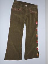 Gymboree Woodland Friends Corduroy Pants 8 Plus Embroidered Flowers School Play