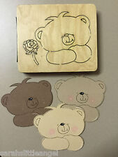 WOODEN DIE CUTTER-FLOWER BEAR, Use in Sizzix Big Shot, VERY RARE!!!