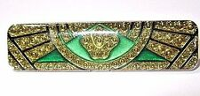 PIN PRETTY LUCITE GREEN AND GOLD TONE ART DECO REPRODUCTION VINTAGE PIERRE BEX