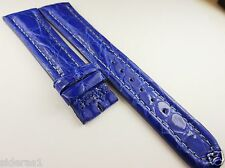 GENUINE CROCODILE WATCH BAND for VINTAGE BREITLING 20MM BLUE